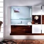 Badezimmer in Nußbaum und weißer Hochglanzlack _ freihängend