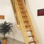 Leitertreppe aus massiver Buche und Kiefer. Automatikfunktion mit Elektroantrieb, platzsparend, da nur bei Bedarf ausgeklappt.
