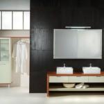 Waschtisch in Kirschbaum und creme mit Spiegelschrank _ modern